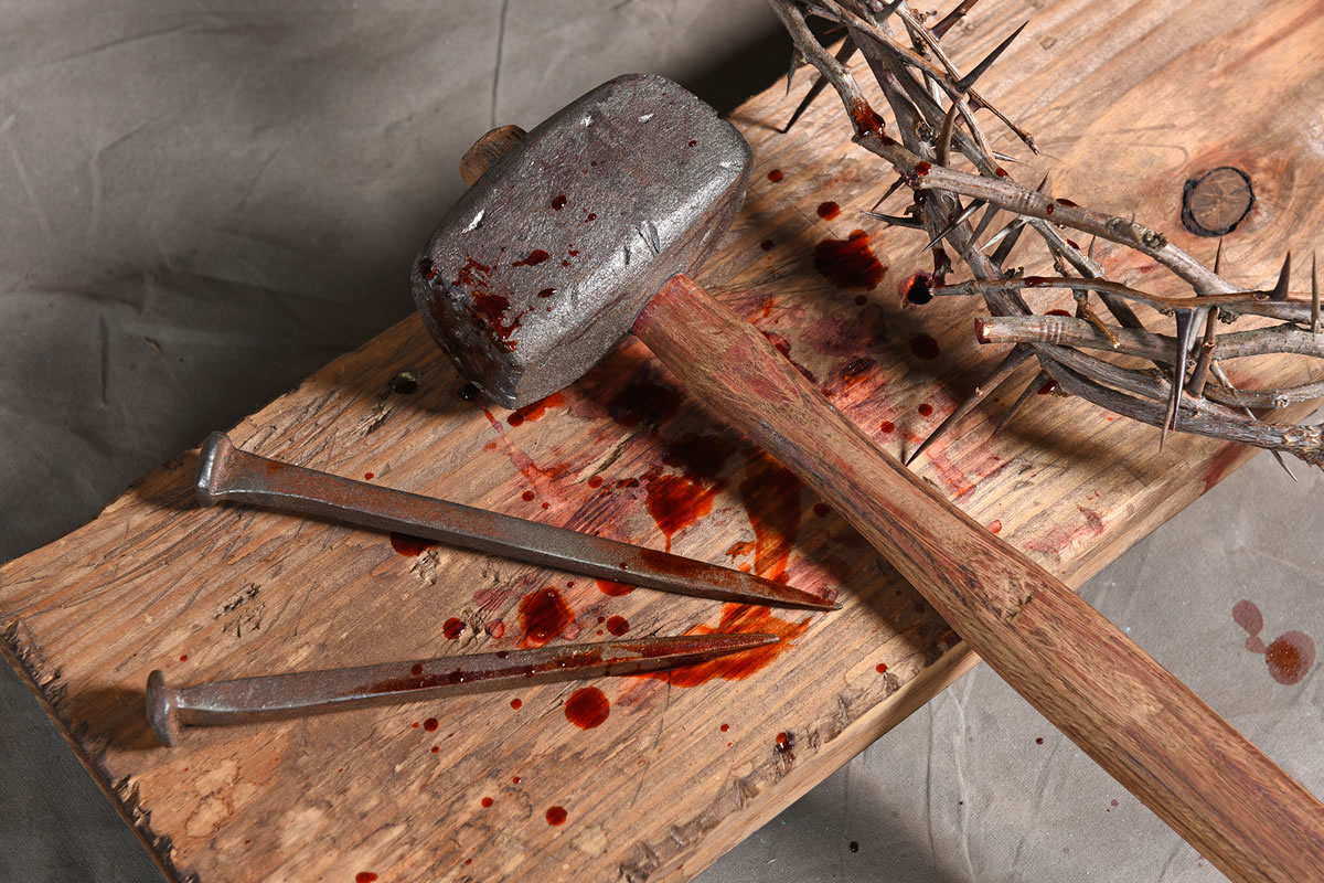 Crucifixion: Nails, Hammer, Wooden Cross